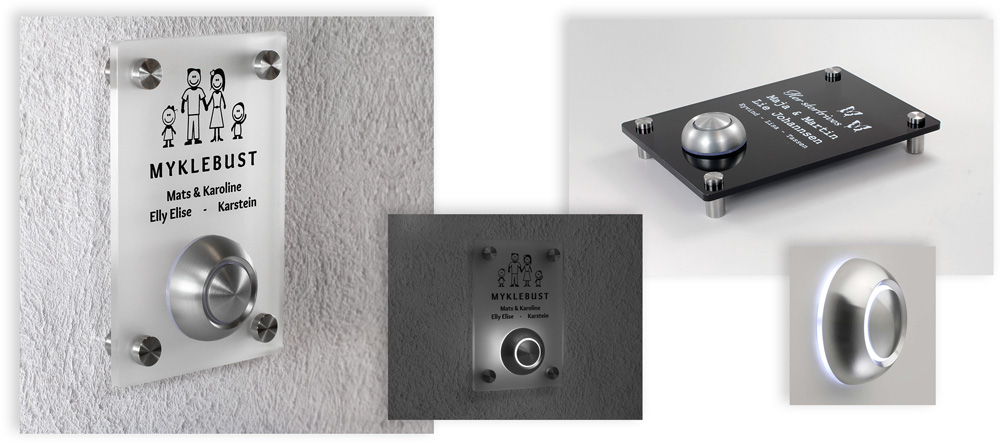 Frisk frugt Dørskilt med integrert ringeklokke - Foldal Stempel AS VT74