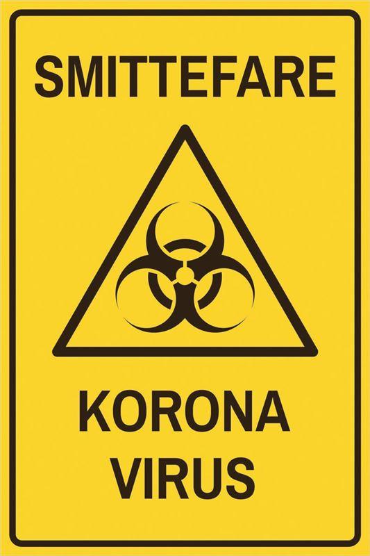 Smittevernskilt: Smittefare, korona virus - Foldal Stempel AS